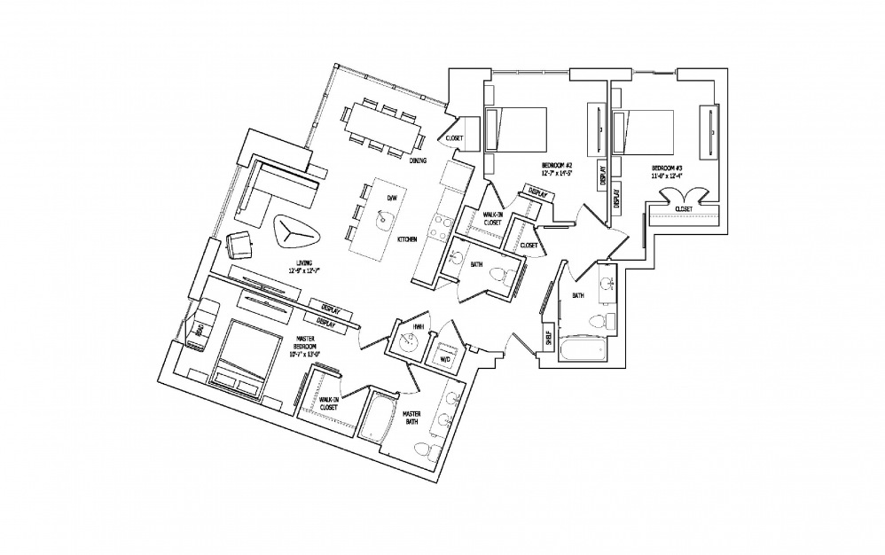 3E-1 - 3 bedroom floorplan layout with 2.5 baths and 1573 square feet.