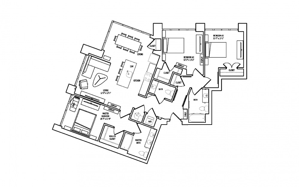3E-2 - 3 bedroom floorplan layout with 2.5 baths and 1491 square feet.